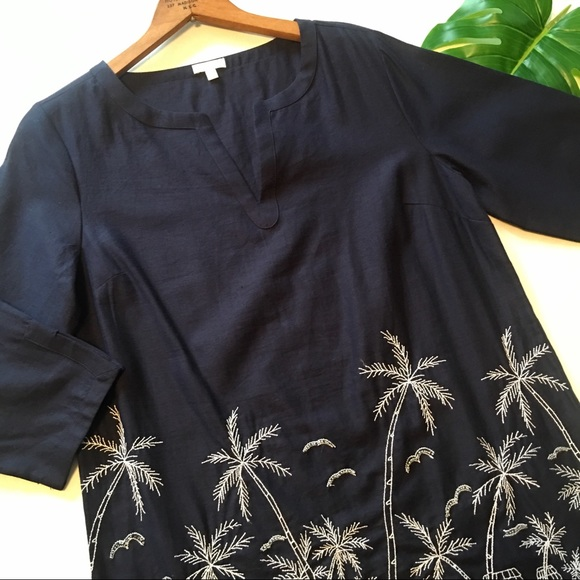 cc65ff5fc0 Talbots Dresses   Dress S Palm Linen Embroidered Tunic Beads   Poshmark